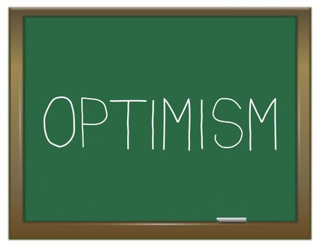 Illustration depicting a green chalkboard with an optimism concept.