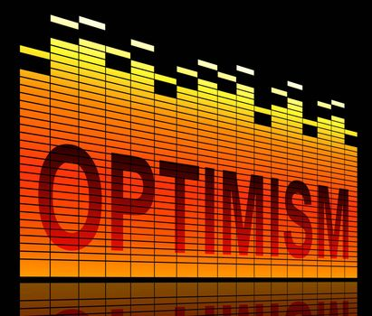 Illustration depicting graphic equalizer levels with an optimism concept.