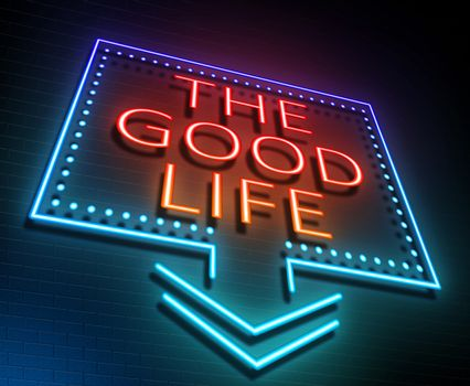 Illustration depicting an illuminated neon sign with a good life concept.