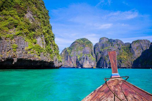 Longtail boat in sea