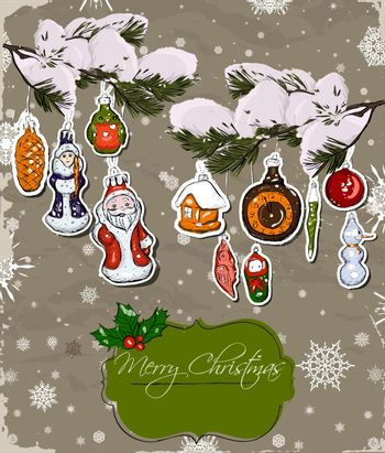 Poster with vintage Christmas decorations. Vector illustration EPS10