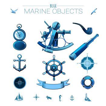 Blue marine objects