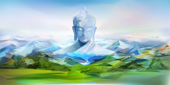 Buddha And Mountains