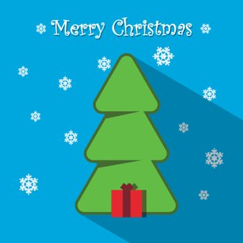 Illustration Blue Christmas Card with Christmas Tree