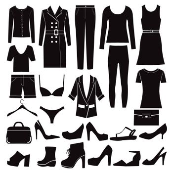 Clothes and shoes Fashion icon set. Different set of woman clothes and accessories vector-illustration