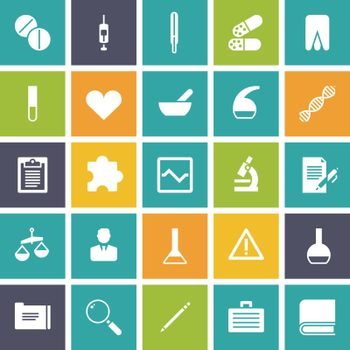 Flat design icons for medical science. Vector illustration.