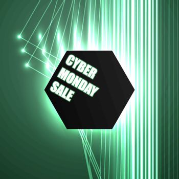 vector banner for cyber Monday, the text in the polygon, abstract background, lighting effects