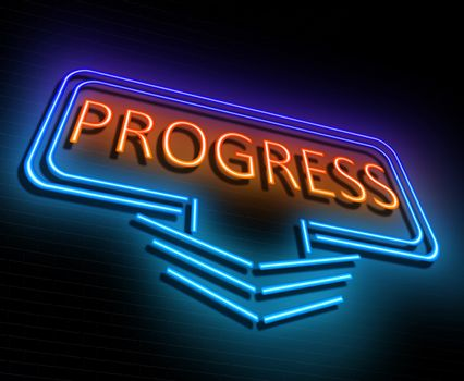 Illustration depicting an illuminated neon sign with a progress concept.