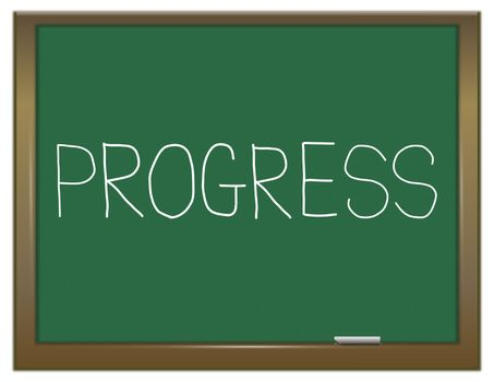 Illustration depicting a green chalkboard with a progress concept.