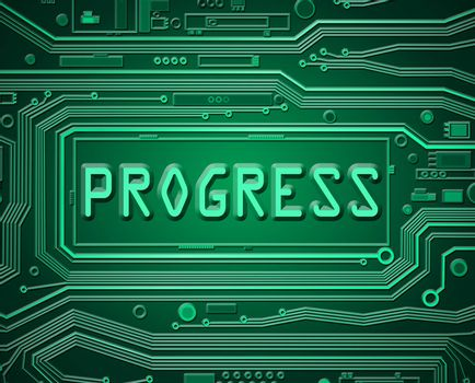 Abstract style illustration depicting printed circuit board components with a progress concept.