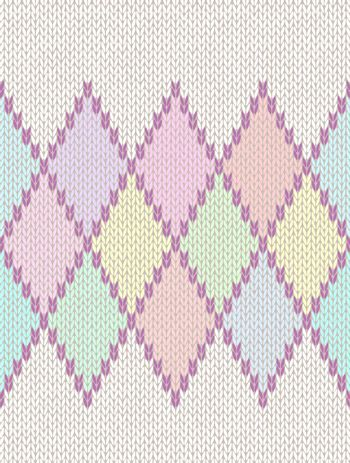 Seamless Light Baby Textile Background of Color Knitted Wool Gingham Squares