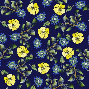 Vector summer fashion background, Floral seamless pattern  texture with summer flowers, can be used  for romantic design, decoration, greeting cards, posters, invitations.