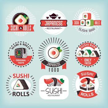 Set of various sushi labels