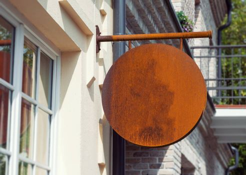 Empty outdoor signage mockup with natural rusty background to add company logo