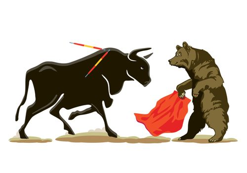 Bear ans Bull at the Bullfighting