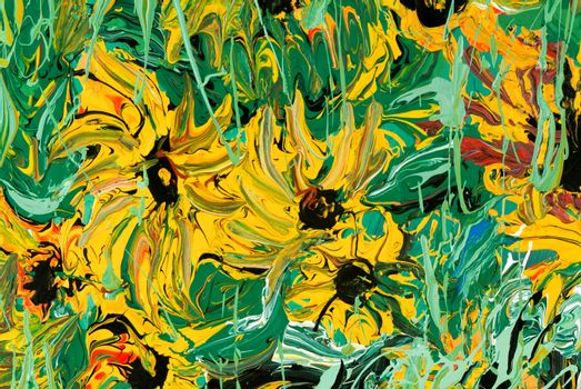 Abstract flower painting for background and texture