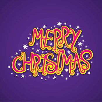 creative merry christmas typography design with white star vector