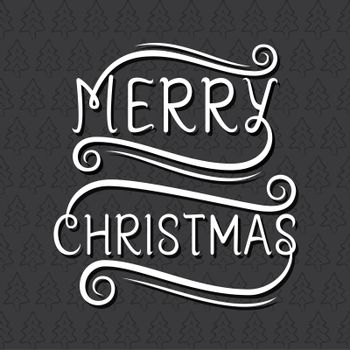 creative merry christmas typography with tree pattern design vector