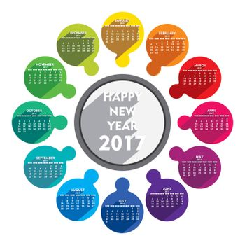 creative new year 2017 calendar with round arrangement design vector