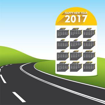 creative new year 2017 calendar on distance mile pillar design