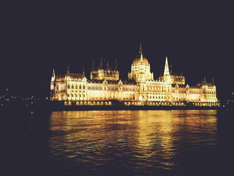 Budapest Cityscape at night With the Hungarian Parliament