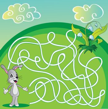 Vector Maze, Labyrinth Game for Children with hare