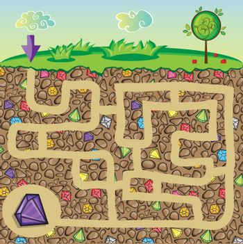 Maze for children - nature and precious stones under the ground