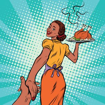 follow me African-American housewife with roast Turkey, pop art retro comic book vector illustration. Christmas or thanksgiving holiday home dinner