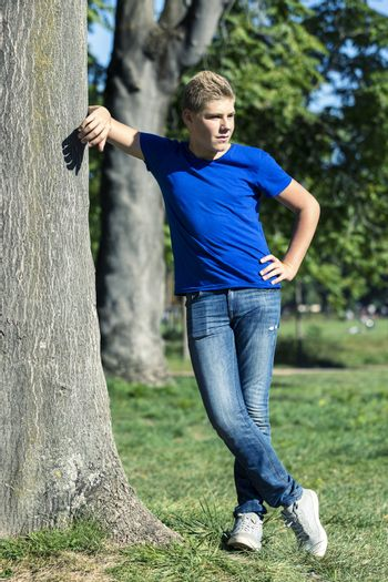 Young boy in a park on summer