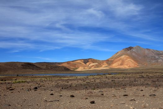 Colorful mountains and lake in peruvian andes
