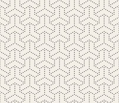 Vector Seamless Black and White Dotted Lines Grid Pattern. Abstract Geometric Background Design