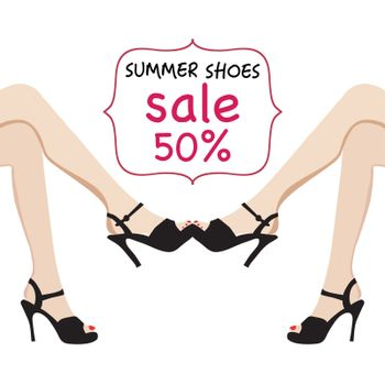Vector illustration of woman legs in black fashion shoes sale banner. Hand-drawn  illustrations, Spring-summer fashion collection.