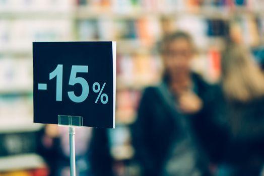 Fifteen percent discount in bookstore