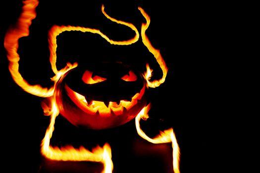 Pumpkin in flames