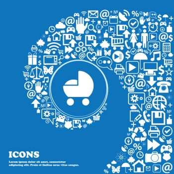 baby pram icon sign. Nice set of beautiful icons twisted spiral into the center of one large icon. Vector