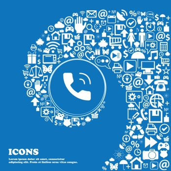 Phone icon sign. Nice set of beautiful icons twisted spiral into the center of one large icon. Vector illustration