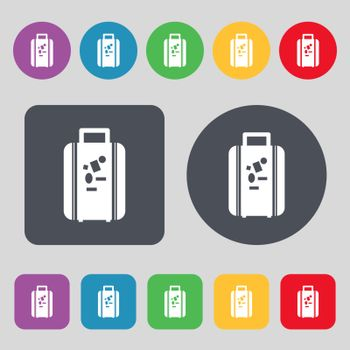 travel luggage suitcase icon sign. A set of 12 colored buttons. Flat design. Vector illustration