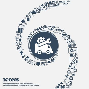 Computer repairs icon in the center. Around the many beautiful symbols twisted in a spiral. You can use each separately for your design. Vector illustration