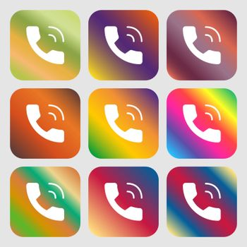 Phone icon sign. Nine buttons with bright gradients for beautiful design. Vector illustration