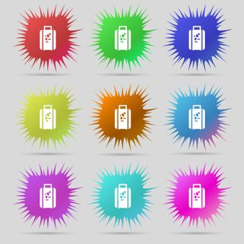 travel luggage suitcase icon sign. A set of nine original needle buttons. Vector illustration