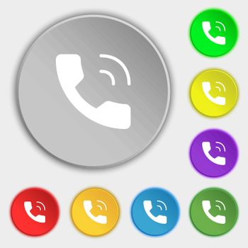 Phone icon sign. Symbol on eight flat buttons. Vector illustration