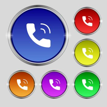 Phone icon sign. Round symbol on bright colourful buttons. Vector illustration