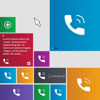 Phone icon sign. buttons. Modern interface website buttons with cursor pointer. Vector illustration