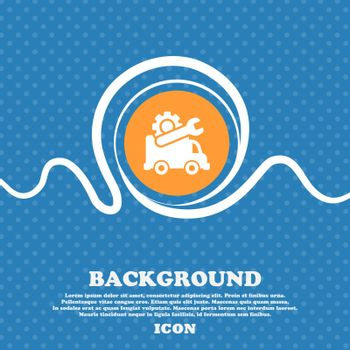 Computer repairs icon sign. Blue and white abstract background flecked with space for text and your design. Vector illustration