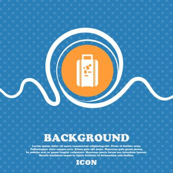 travel luggage suitcase icon sign. Blue and white abstract background flecked with space for text and your design. Vector illustration