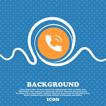 Phone icon sign. Blue and white abstract background flecked with space for text and your design. Vector illustration