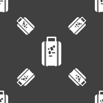 travel luggage suitcase icon sign. Seamless pattern on a gray background. Vector illustration