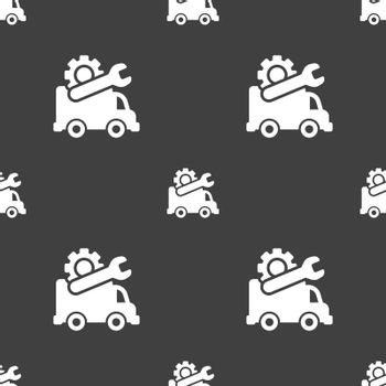 Computer repairs icon sign. Seamless pattern on a gray background. Vector illustration