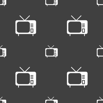 tv icon sign. Seamless pattern on a gray background. Vector illustration
