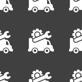Computer repairs icon sign. Seamless pattern on a gray background. Vector